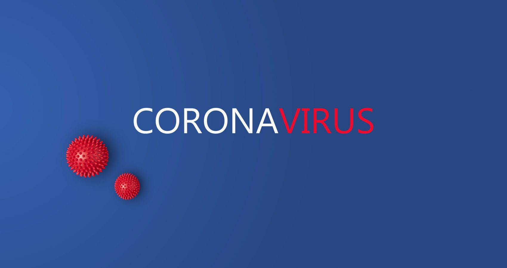 Red and white inscription Coronavirus on blue background with abstract viral strain model with copy space, banner. Corona virus disease COVID-19 from Wuhan, China